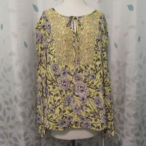 Candie's Long Sleeve Floral Peasant Top XL NWT